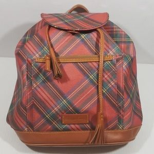 Dooney And Bourke Rare Tartan Red Plaid Backpack
